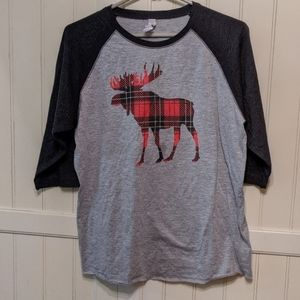 Buffalo plaid moose raglan